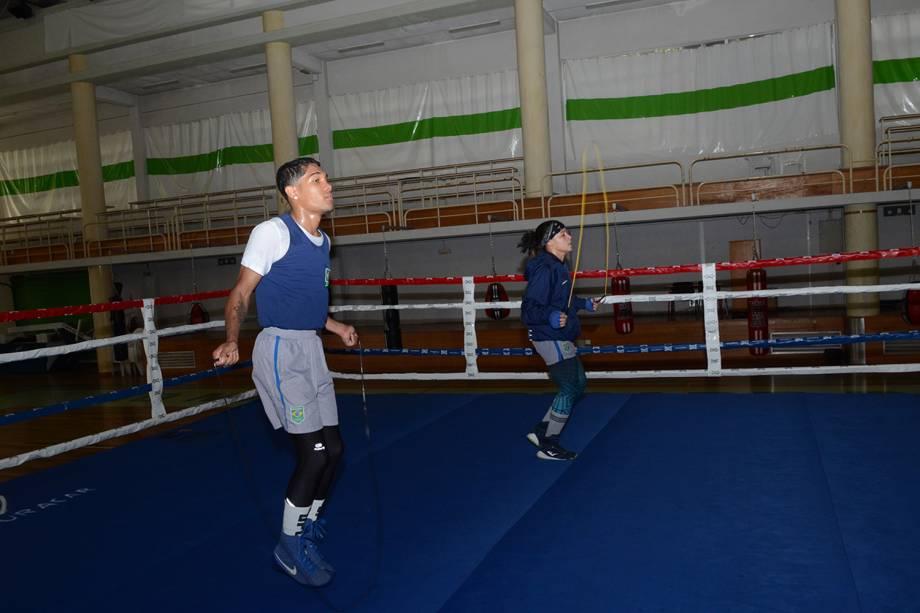 Equipe de Boxe durante os treinos, em Sangalhos