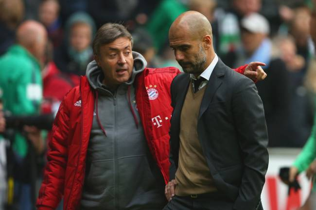 Domenec Torrent e Pep Guardiola durante passagem da dupla pelo Bayern de Munique