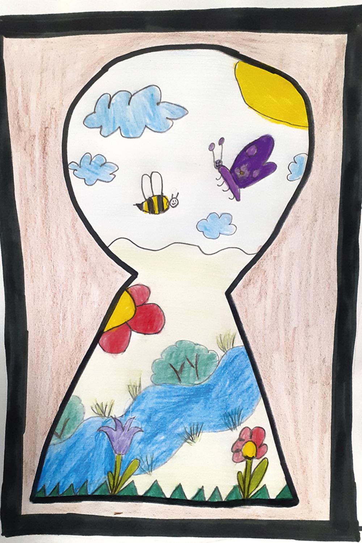 OLHAR INFANTIL: desenhos e até diários de crianças guardados para o futuro.