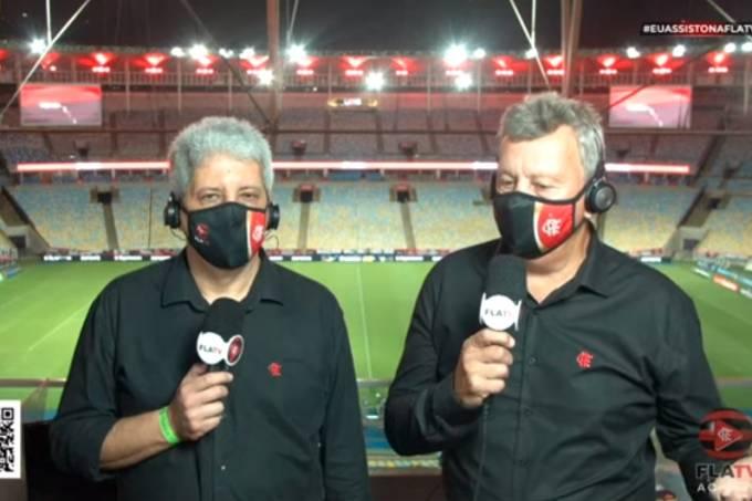 Os comentaristas Alexandre Tavares e Raul Plassmann, da FlaTV
