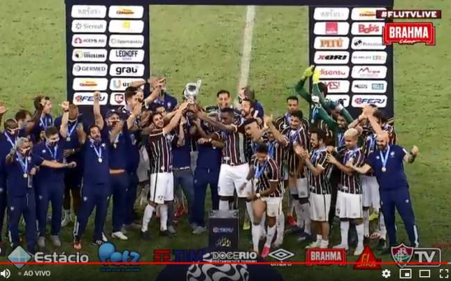 Atletas do Fluminense celebraram o título da Taça Rio no Maracanã