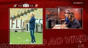 Transmissão da FlaTV mostrou o técnico Jorge Jesus na beirada do campo