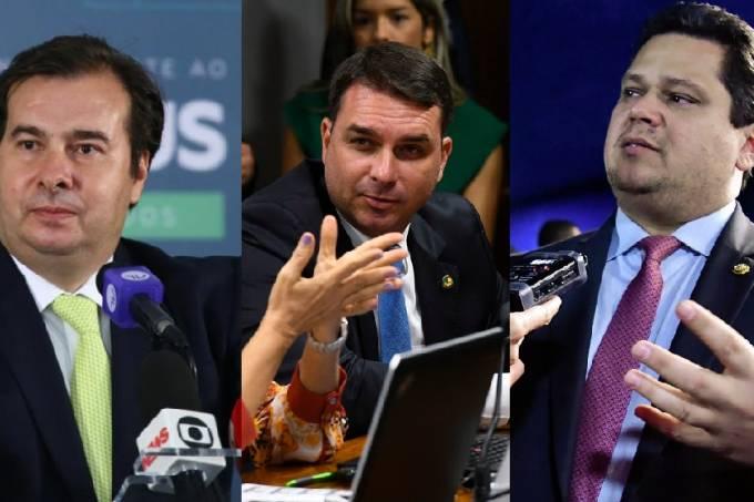Montagem – Rodrigo Maia, Flávio Bolsonaro e Davi Alcolumbre