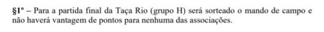 Trecho do regulamento do Campeonato Carioca