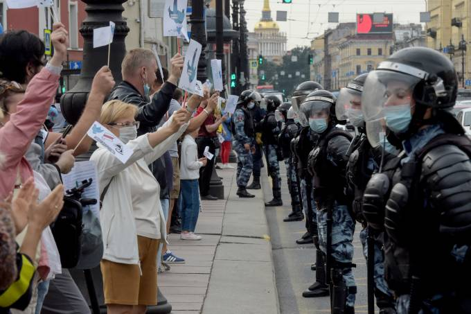 Manifestantes protestam contra o presidente Alexander Lukashenko na Bielorrússia