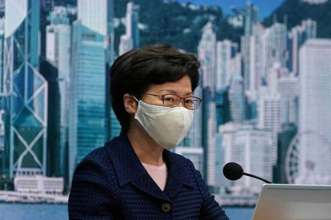 Hong Kong Chief Executive Carrie Lam, wearing a face mask following the coronavirus disease (COVID-19) outbreak, attends a news conference in Hong Kong