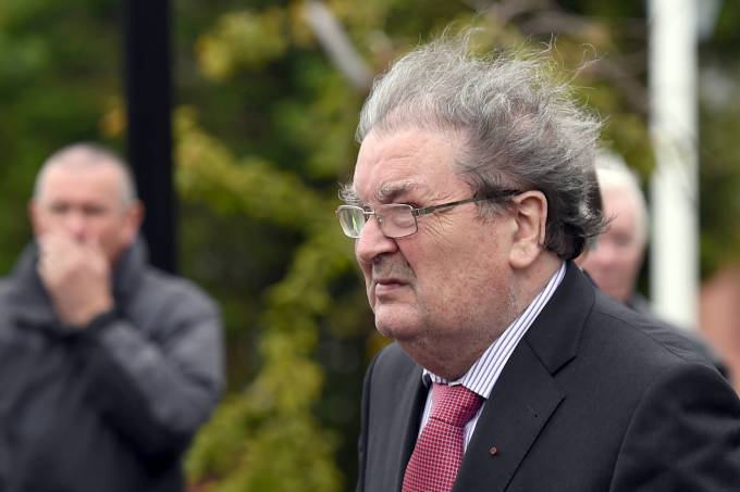 FILE PHOTO: Former SDLP leader, John Hume, arrives for the funeral mass of former Bishop Edward Daly at St. Eugene's Cathedral in Londonderry
