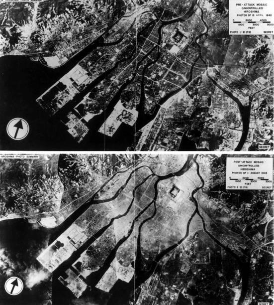 Visão aérea de Hiroshima antes do bombardeio de 1945 e logo após o ataque