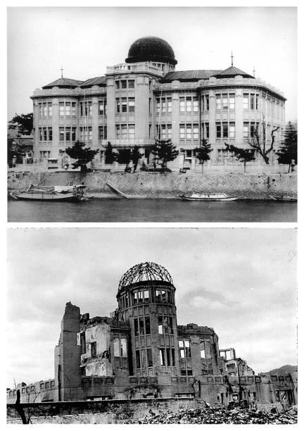 Prédio da Exposição Comercial da Prefeitura de Hiroshima antes do bombardeio e após o ataque. Local foi apelidado de Memorial da Paz de Hiroshima