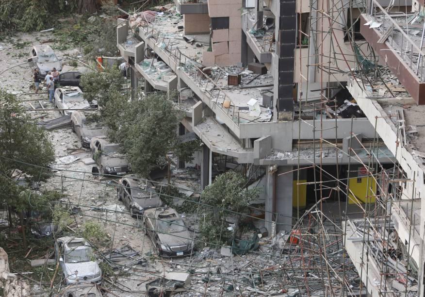 Prédio danificados pela explosão no porto de Beirute - 05/08/2020