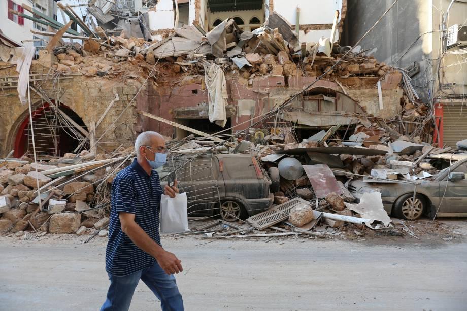 Prédio próximo ao porto de Beirute foi totalmente danificado em explosão - 05/08/2020