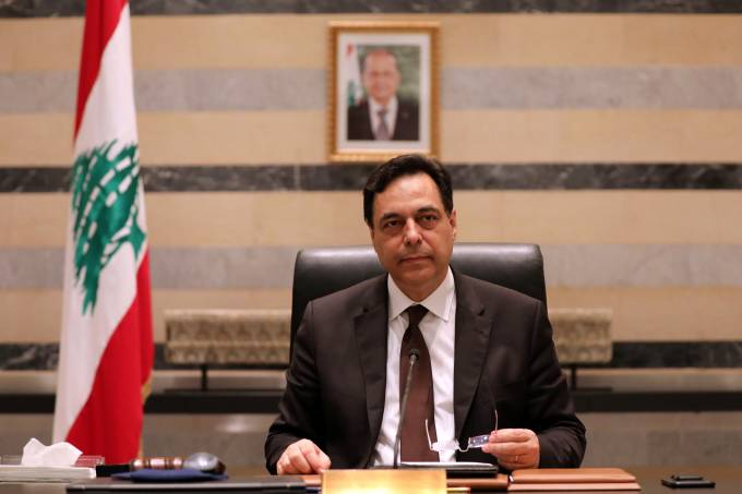 Lebanon's PM Diab is pictured at the government palace in Beirut