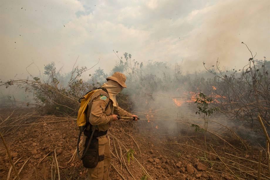 Homens da Operação Pantanal 2 combatem o fogo no Pantanal