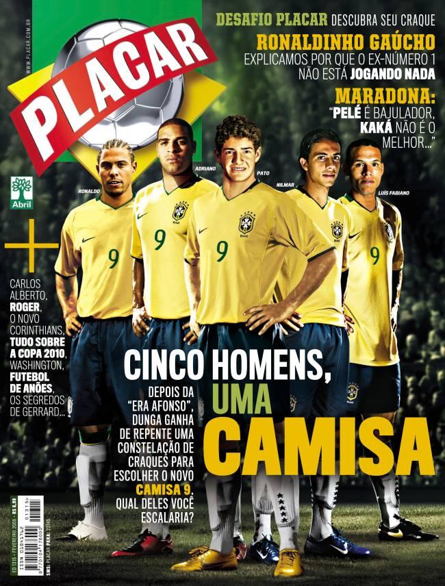 Capa de fevereiro de 2008 apontava possíveis 9 da seleção