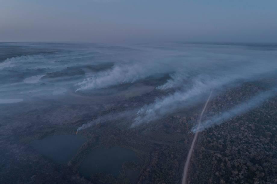 Vista aérea das queimadas que atingem o Mato Grosso