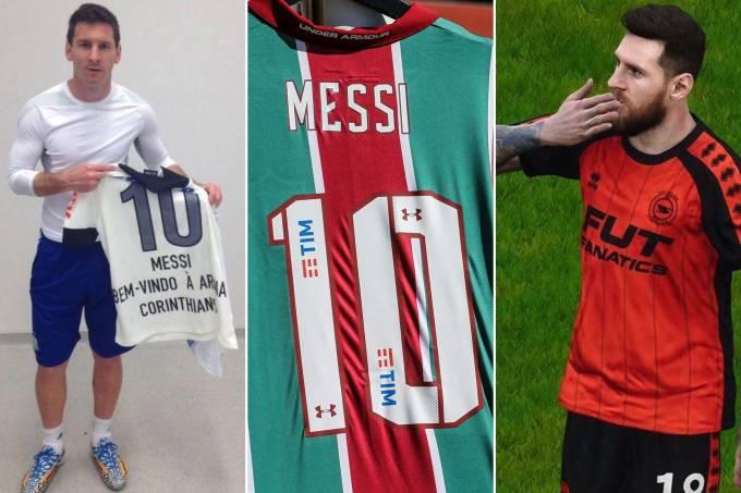 Messi com camisas de times brasileiros