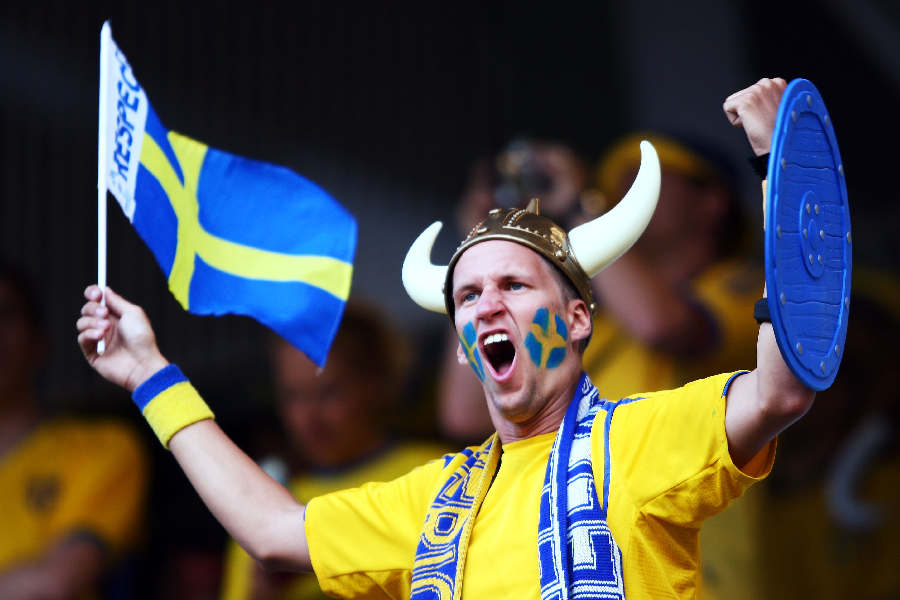 A Sweden fan shows their support ahead of the UEFA EURO 2008