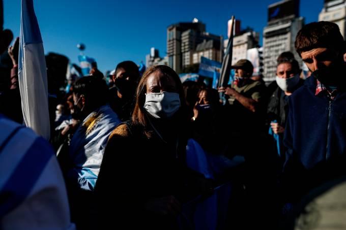 Manifestación contra el presidente Alberto Fernández en Buenos Aires