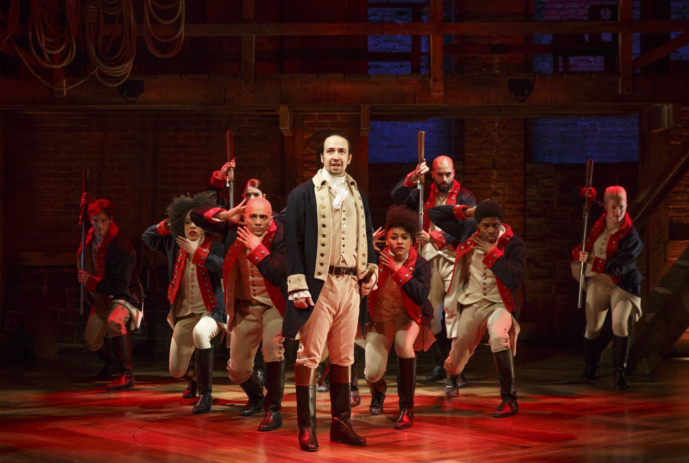 Cena do musical 'Hamilton', com Lin-Manuel Miranda
