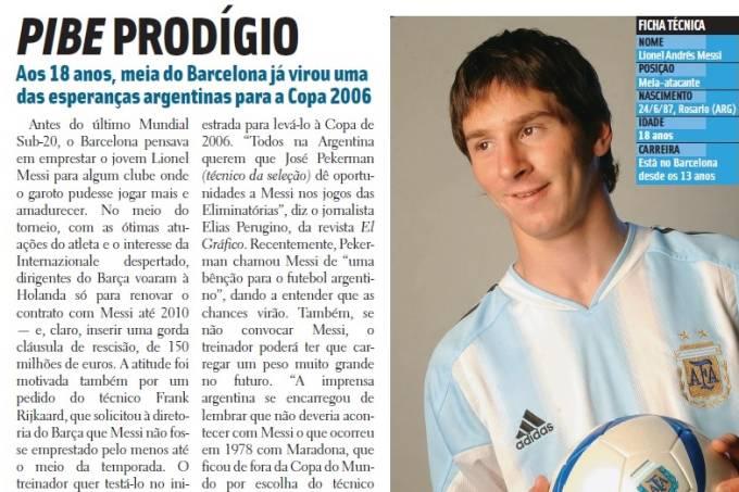 Messi apareceu pela primeira vez em edição de agosto de 2005