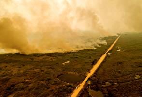 Bolsonaro ignora Pantanal em ida ao MT, mas fumaça faz seu avião arremeter | VEJA