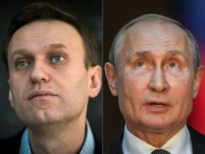 Proeminente opositor russo Alexei Navalny (esquerda) e presidente da Rússia, Vladimir Putin. 16/01/2018-04/07/2019 -