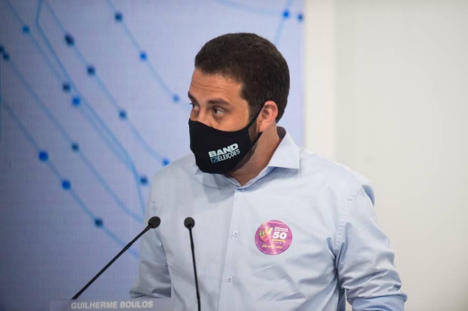 Guilherme Boulos (PSOL) durante o debate eleitoral para a prefeitura de São Paulo -