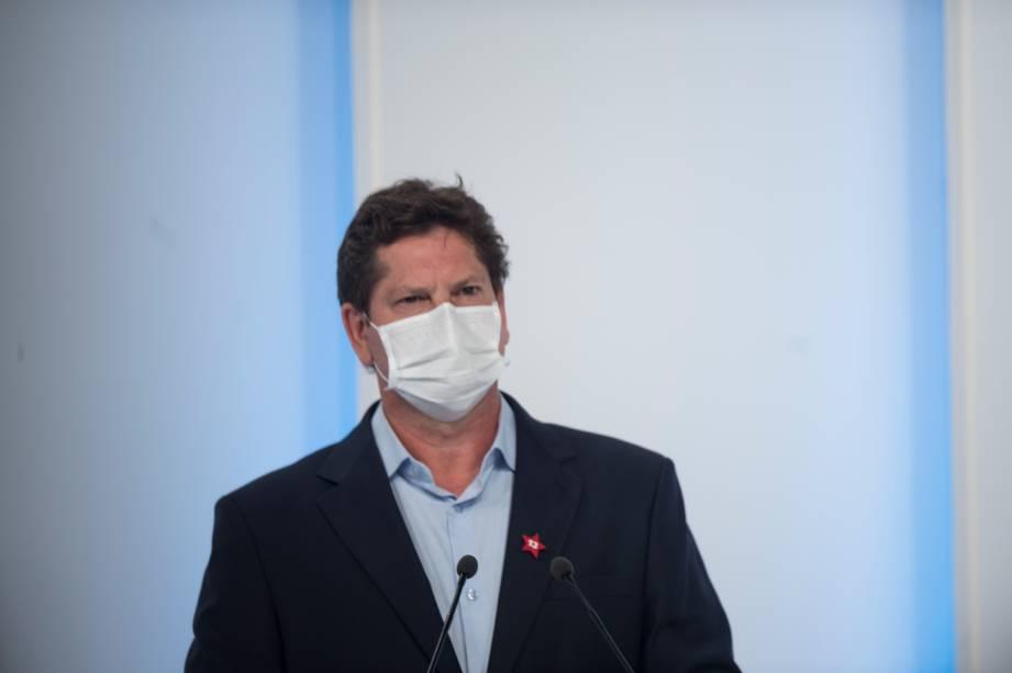 Jilmar Tatto (PT) durante o debate eleitoral para a prefeitura de São Paulo -