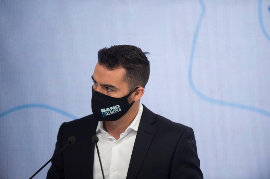 Arthur do Val (Patriota) durante o debate eleitoral para a prefeitura de São Paulo -