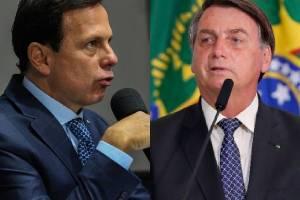 O governador João Doria (PSDB) e o presidente Jair Bolsonaro -