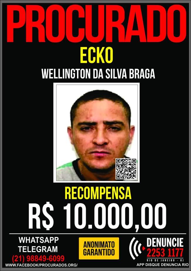 Cartaz do Portal Procurados: ao ser capturado, Ecko estava com visual diferente