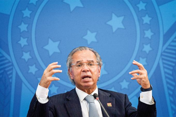 Brazilian Economy Minister Paulo Guedes Holds a Press Conference to Give Updates on the Economic Actions Being Taken Amidst the Coronavirus (COVID-19) Pandemic