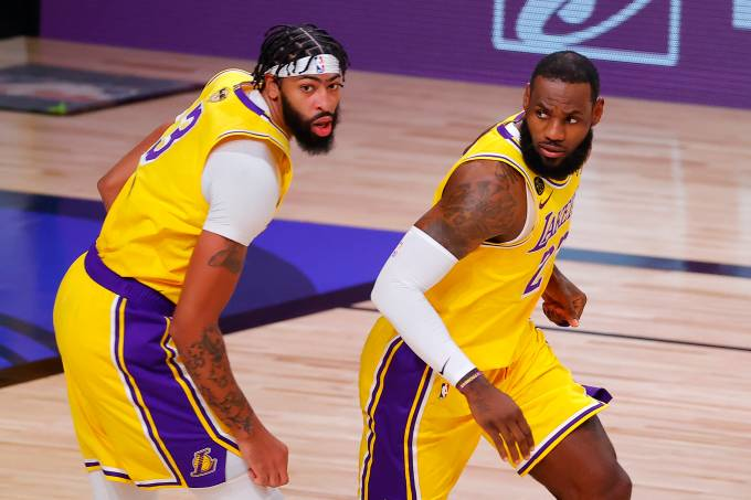 Anthony Davis e LeBron James, os craques do Los Angeles Lakers
