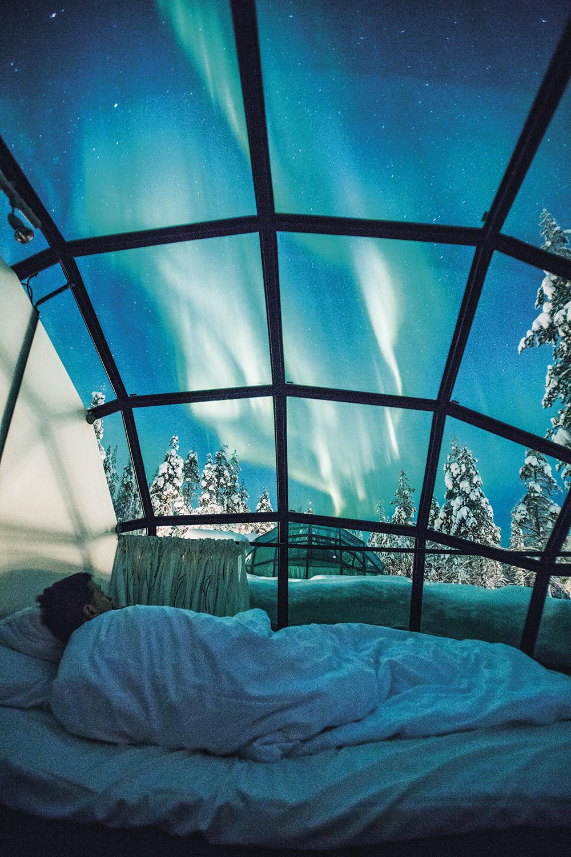 NO GELO - Resort na Finlândia: vista da aurora boreal -