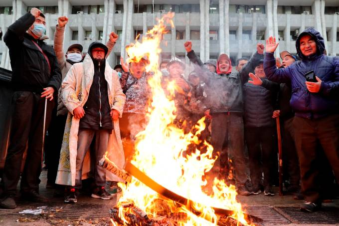Demonstrations against the result of the elections in Kyrgystan