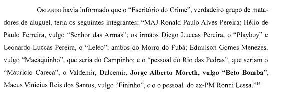 Trecho do inquérito de federalização do caso Marielle; miliciano Orlando da Curicica revelou existência do Escritório do Crime