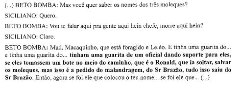 Trecho do inquérito em que miliciano aponta a vereador os nomes Macaquinho, Mad e Leléo como executores do atentado contra Marielle