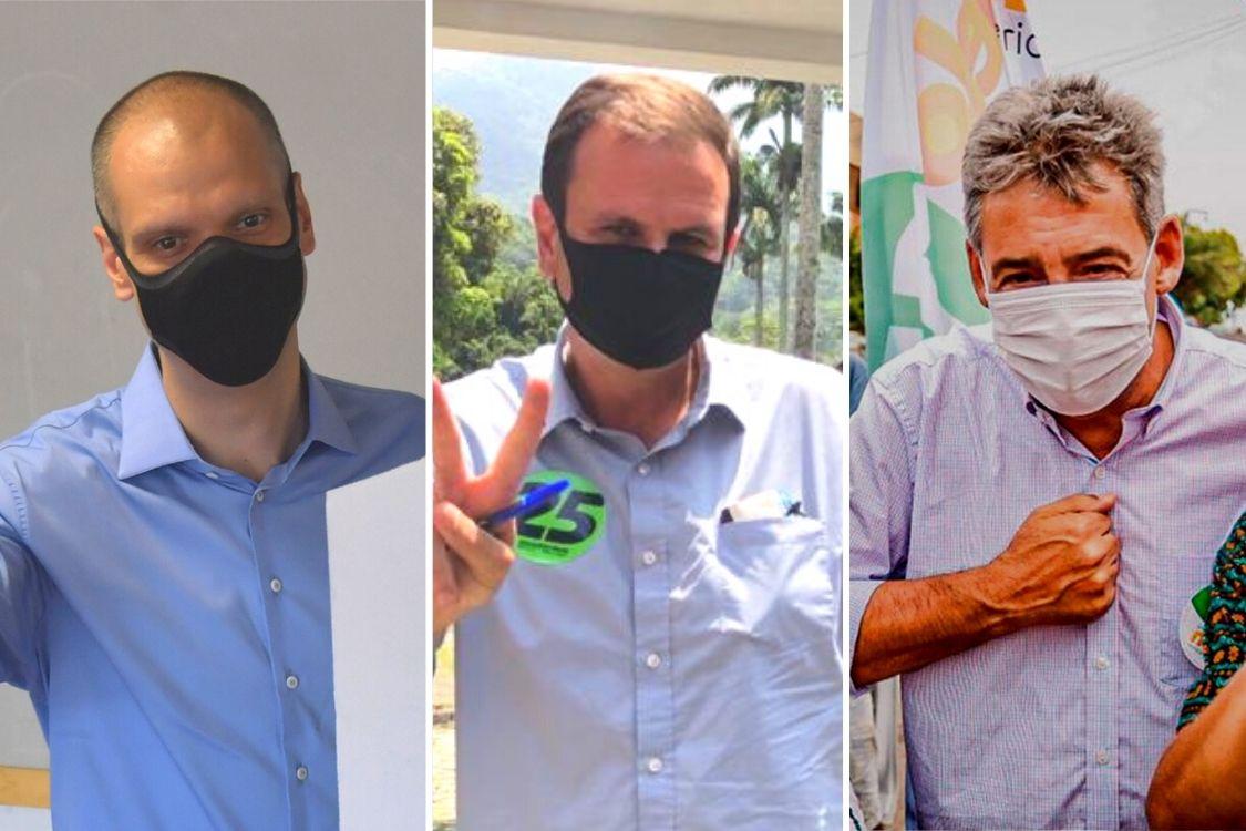 Sebastião Melo (MDB), Eduardo Paes (DEM) e Bruno Covas (PSDB),eleitos prefeitos em Porto Alegre, Rio e São Paulo
