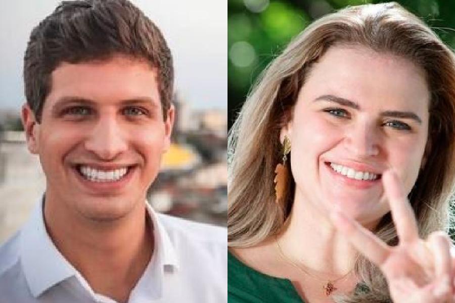 Os candidatos a prefeito de Recife João Campos (PSB) e Marília Arraes (PT), que têm 50% cada um dos votos válidos, segundo o Ibope