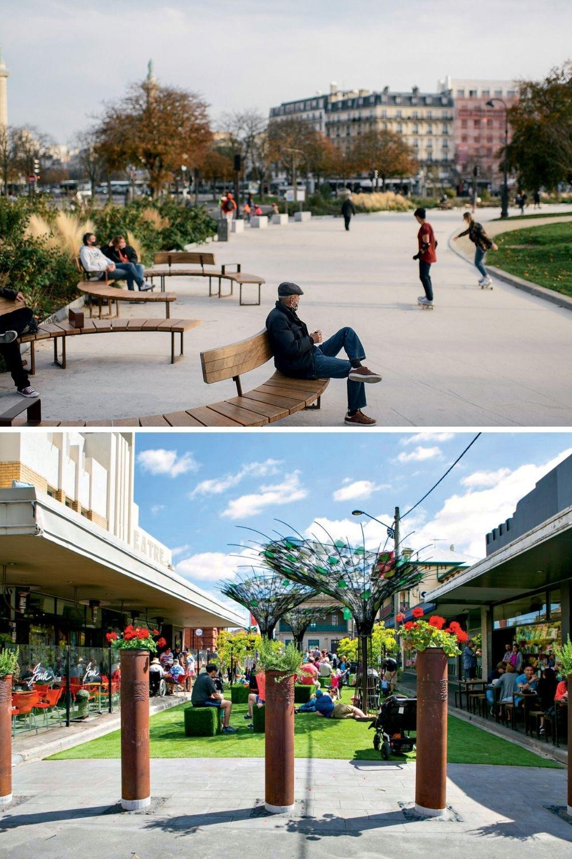 ÁREA DE PEDESTRES -Praça reformada em Paris (acima) e área fechada em Melbourne: quinze minutos de caminhada para qualquer lugar -