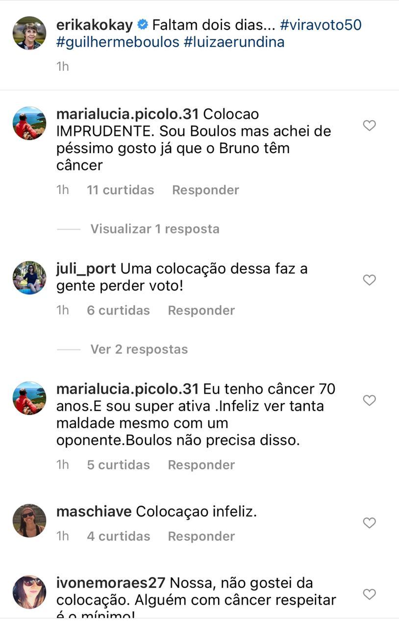 Comentários nas redes sociais sobre post da deputada Erika Kokay.