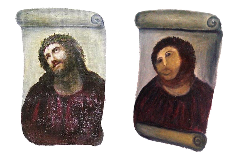 AMADORISMO -Restauração de pintura de Jesus Cristo do século XX: exemplo de trabalho desastroso -