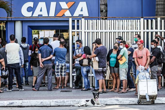 Crowds Line Up at Caixa Economica Federal to Receive Urgent Government Benefit Amidst the Coronavirus (COVID – 19) Pandemic