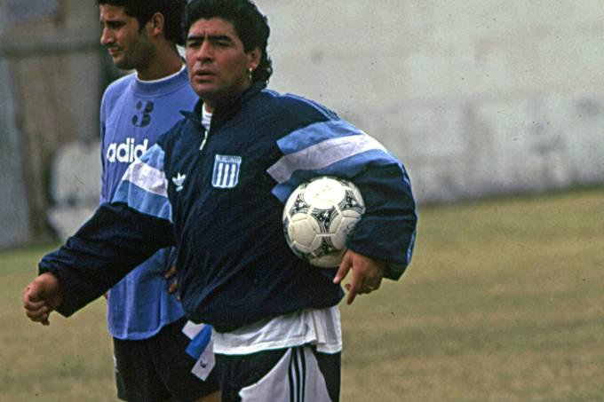 Maradona como treinador do Racing, em 1995