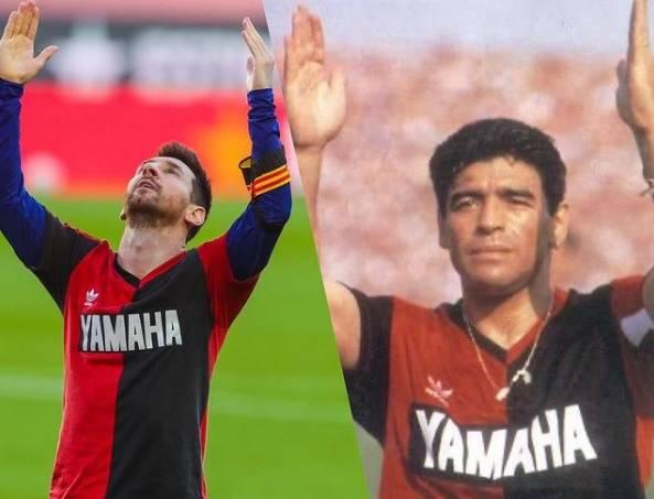 Messi postou uma montagem em que ambos aparecem com a camisa do Newell's de 1993