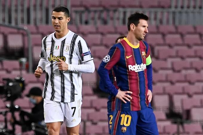 Cristiano Ronaldo e Messi em Barcelona x Juventus no Camp Nou
