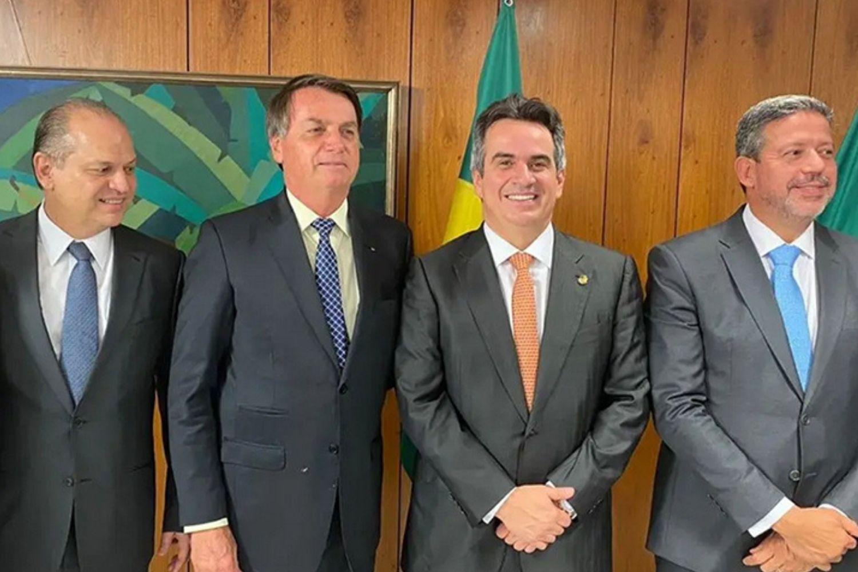 O deputado Ricardo Barros (PP-PR), líder do governo na Câmara, o presidente Jair Bolsonaro, o presidente do PP, senador Ciro Nogueira (PI), e o deputado Arthur Lira (AL), líder do PP na Câmara