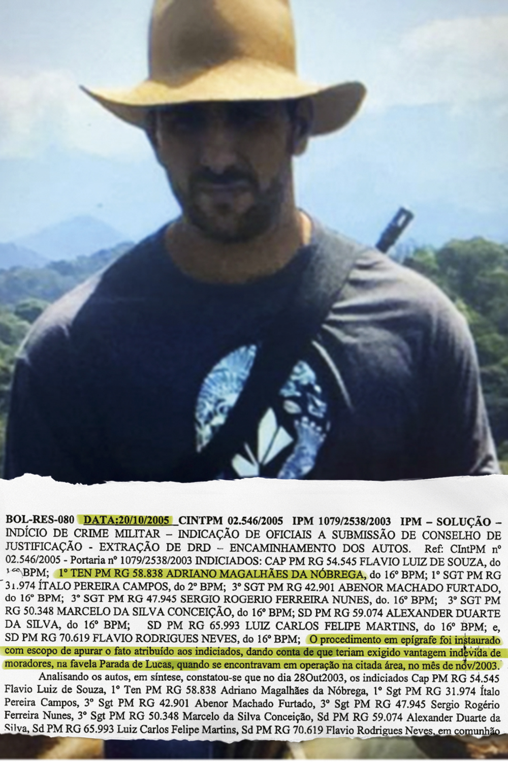 O COMANDANTE -Adriano, morto em fevereiro deste ano, pôs de pé a célula criminosa mais eficiente do Rio: em sua ficha corrida (à dir.), a extorsão é um dos primeiros delitos de uma vida marcada pelo crime -