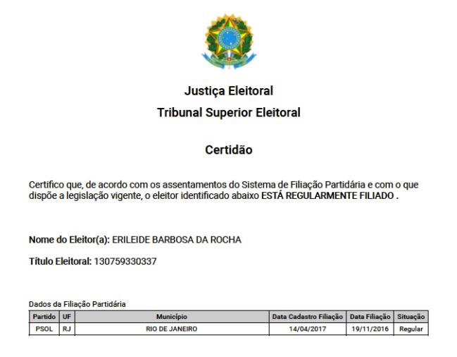 Fac-simile da Certidão de Filiação Partidária de Erileide, presa em decorrência da Operação Intocáveis 2
