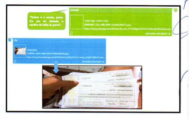 Chats da investigação do Gaeco mostram Laércio cobrando Erileide sobre taxas; ela lhe envia foto com notas promissórias